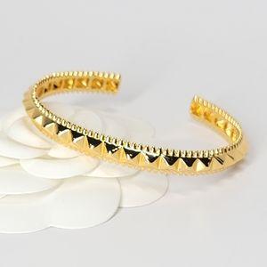 18K Gold Pyramid Studs Open Cuff Bracelet Bangle